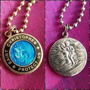 Saint Christopher Surfer medal necklace blue silve